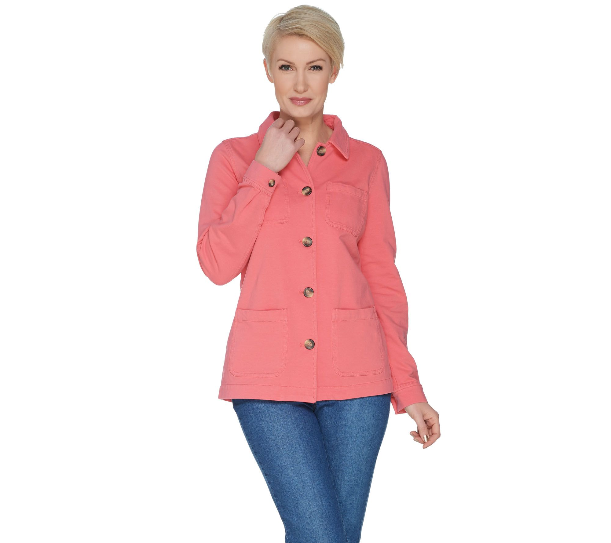 a9e7d50ec09 Denim   Co. Comfy Knit Denim Button Front Utility Jacket - Page 1 ...