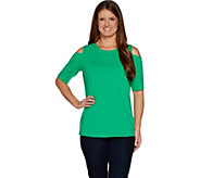 Belle By Kim Gravel TripleLuxe Knit Elbow Sleeve Top w/ Cut Outs - A301607