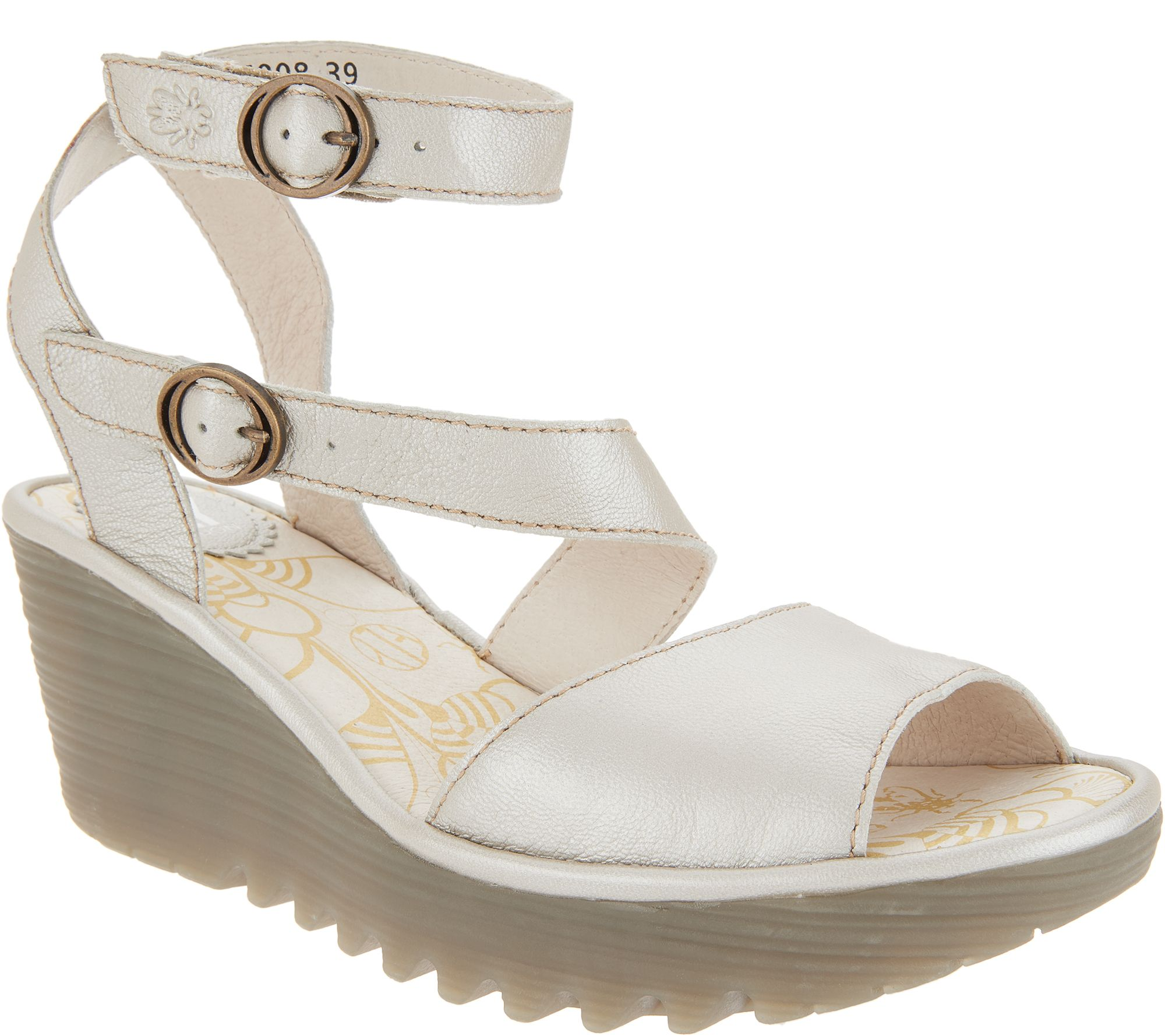 5c73633455a FLY London Leather Multi-Strap Wedge Sandals - Yisk - Page 1 — QVC.com