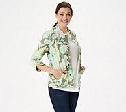 Isaac Mizrahi Live! Watercolor Floral Print Knit Jacket - A305207