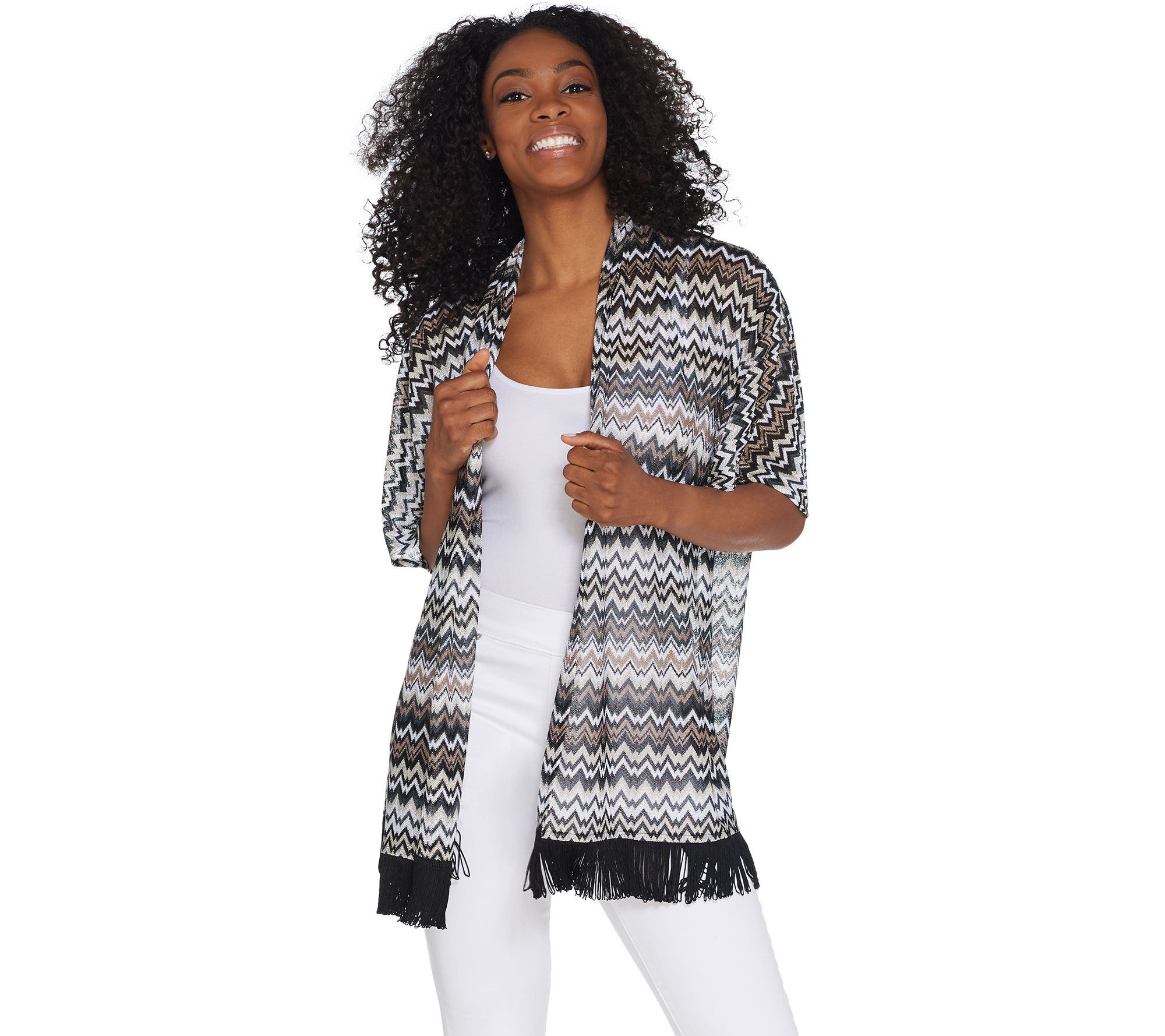92193103ebf GRAVER Susan Graver Novelty Knit Kimono with Tassel Trim - Page 1 ...
