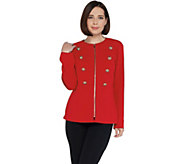 Dennis Basso Luxe Crepe Zip Front Military Jacket w/Trim - A307207