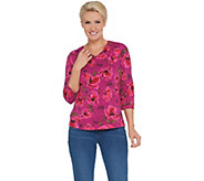 Denim & Co. Floral Print Perfect Jersey 3/4-Sleeve V-Neck Top - A309307