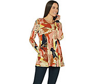 LOGO by Lori Goldstein Printed Knit Long Sleeve Top w/ Stitching - A309807