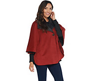 Martha Stewart Button Front Cape Coat with Pockets - A342407