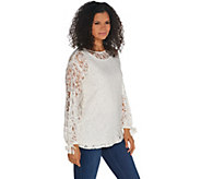 Dennis Basso Lace Bateau Neck Tunic with Knit Tank - A343907