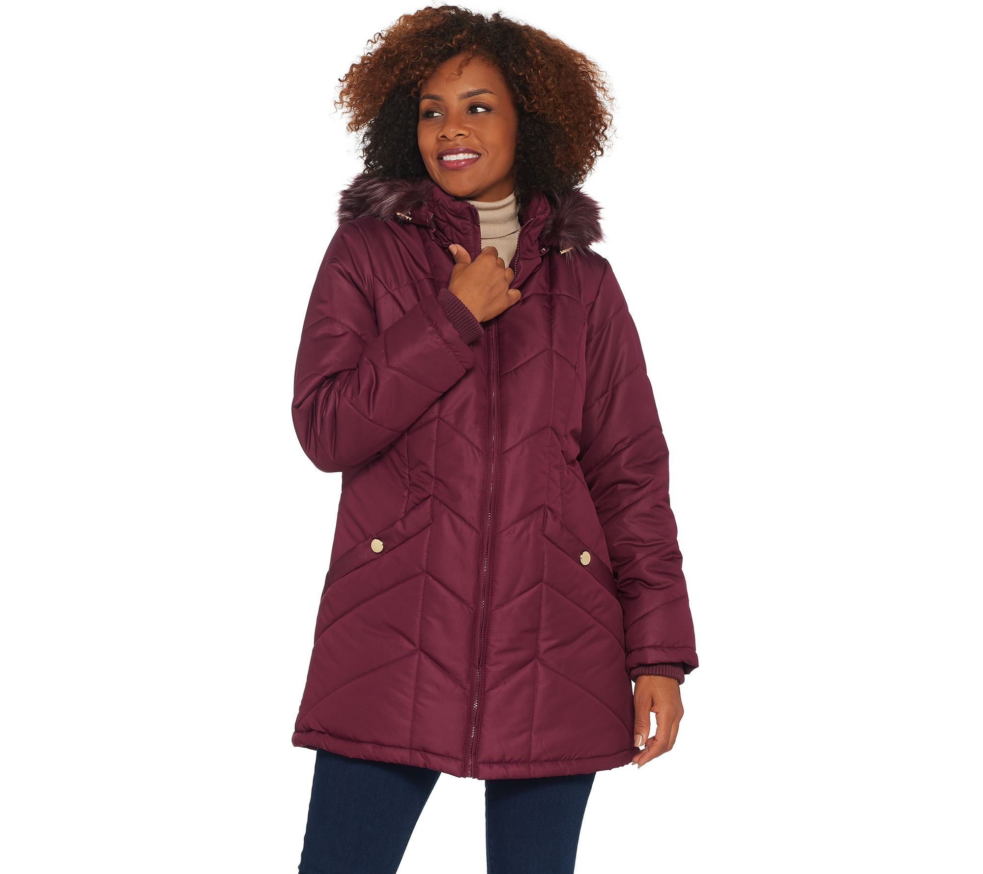70665590e091c Susan Graver Water Resistant Quilted Puffer Jacket with Removable Hood -  Page 1 — QVC.com