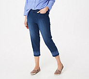 Denim & Co. Perfect Denim Pull-On Crop Jeans with Embroidery - A349207