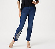 Dennis Basso Stretch Denim Slim-Leg Zip-Front Jeans - A349307