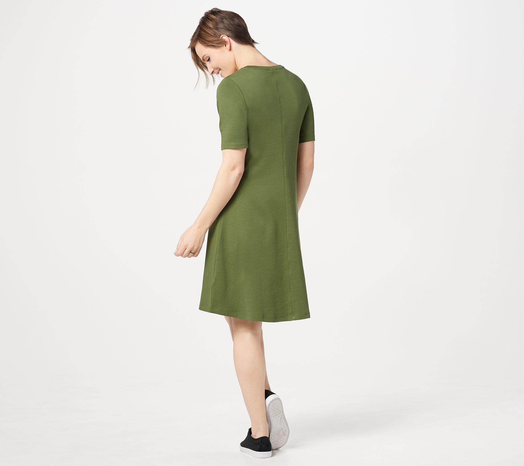 24c44205e5a2 Isaac Mizrahi Live! Regular Essentials Pima Cotton Elbow- Sleeve Dress -  Page 1 — QVC.com