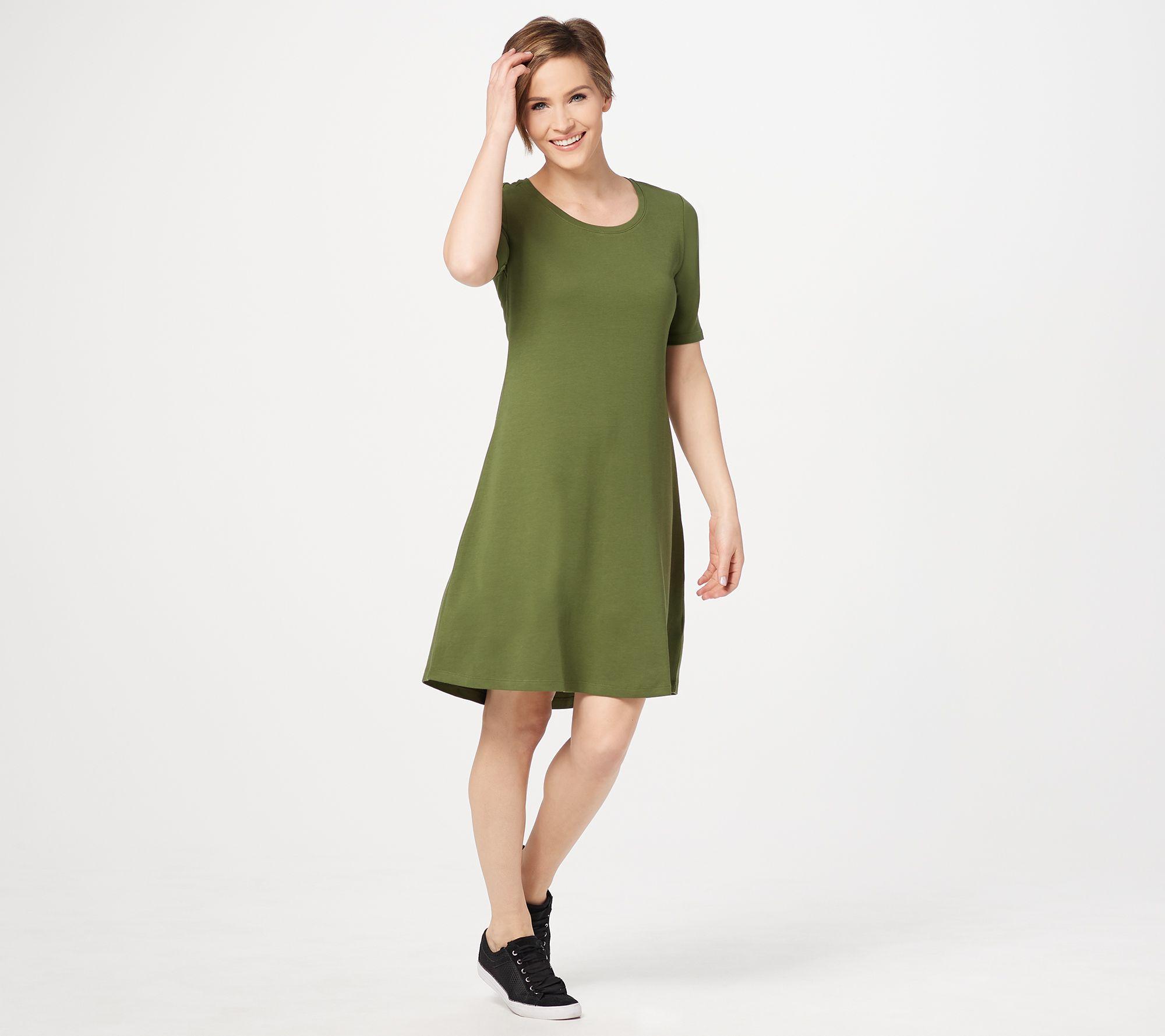 6d94ec94f905f Regular Essentials Pima Cotton Elbow- Sleeve Dress - Page 1 — QVC.com