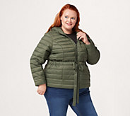 Denim & Co. Active Cinched Waist Puffer Jacket w/ Lined Hood - A389007