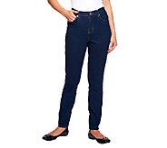Denim & Co. Classic Waist Slim Leg 5 Pocket Stretch Pants - /A94108