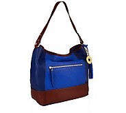 As Is Isaac Mizrahi Live! Bridgehampton Colorblock Leather Hobo - A253308