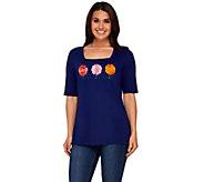 Quacker Factory Daisy Fun Square Neck Elbow Sleeve T-shirt - A264508