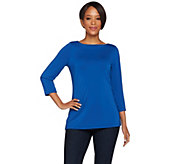Susan Graver Premier Knit 3/4 Sleeve Bateau Neck Top - A266808