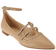 Marc Fisher Leather Pointed Toe Flats w/ Ankle Strap - Aura - A279908