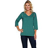 Belle by Kim Gravel Knit Top with Shoulder Zipper Detail - A296108