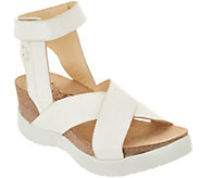 FLY London Leather Cross Strap Wedges - Weel - A304908