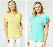 Susan Graver Set of 2 Liquid Knit Flutter Sleeve Tops - A306508