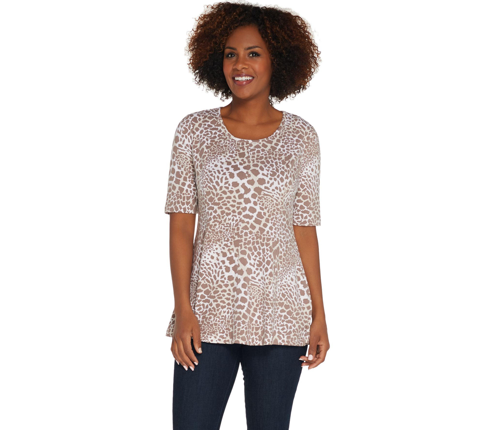 1bc61e28c3 Denim   Co. Regular Elbow-Sleeve Printed Fit   Flare Tunic - Page 1 —  QVC.com