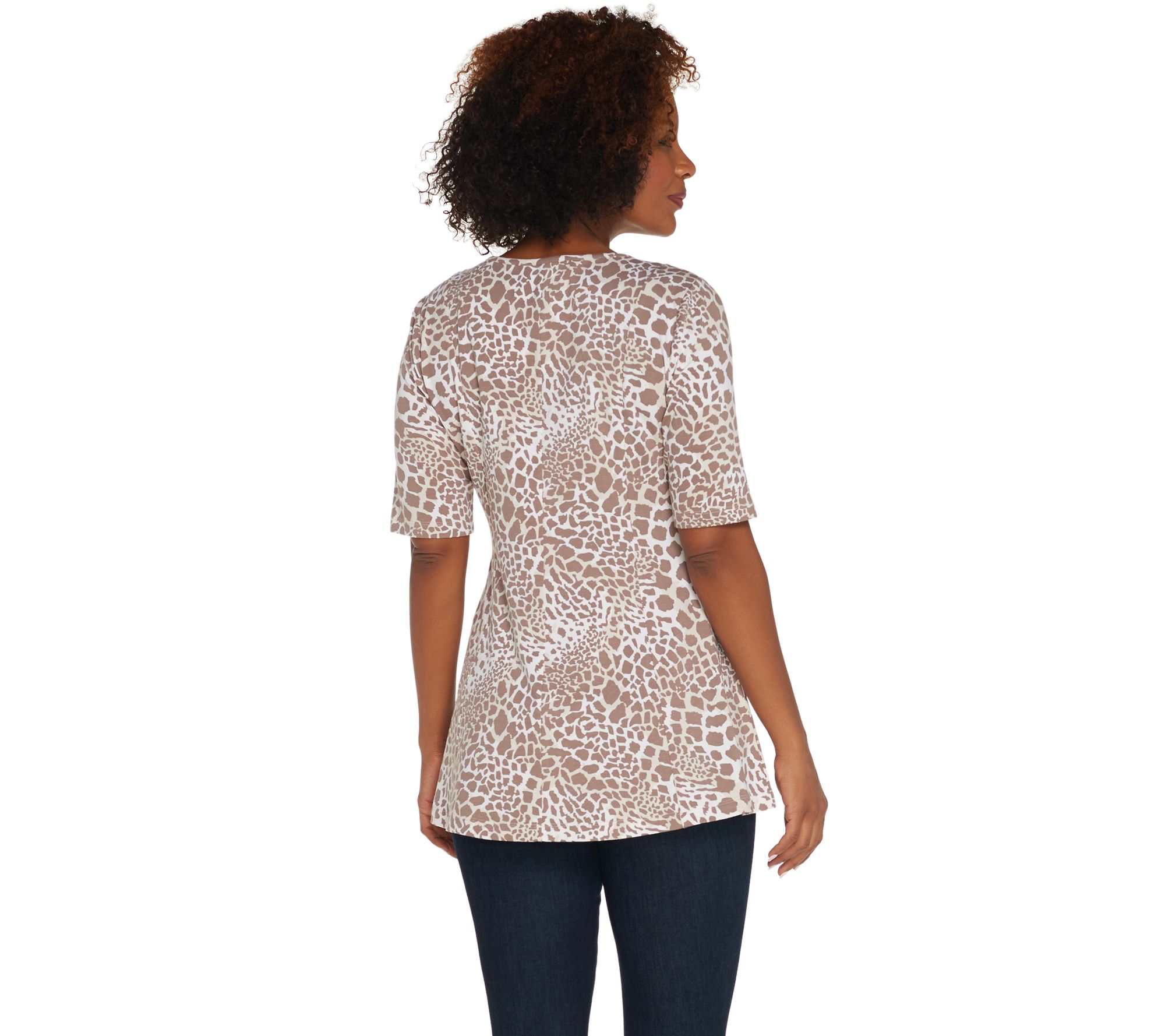 510687ba9214c0 Denim   Co. Regular Elbow-Sleeve Printed Fit   Flare Tunic - Page 1 ...