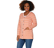 As Is Martha Stewart Button Front Striped Cardigan with Pockets - A342208