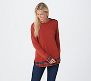 Joan Rivers Long Sleeve Sweater with Plaid Details - A366908