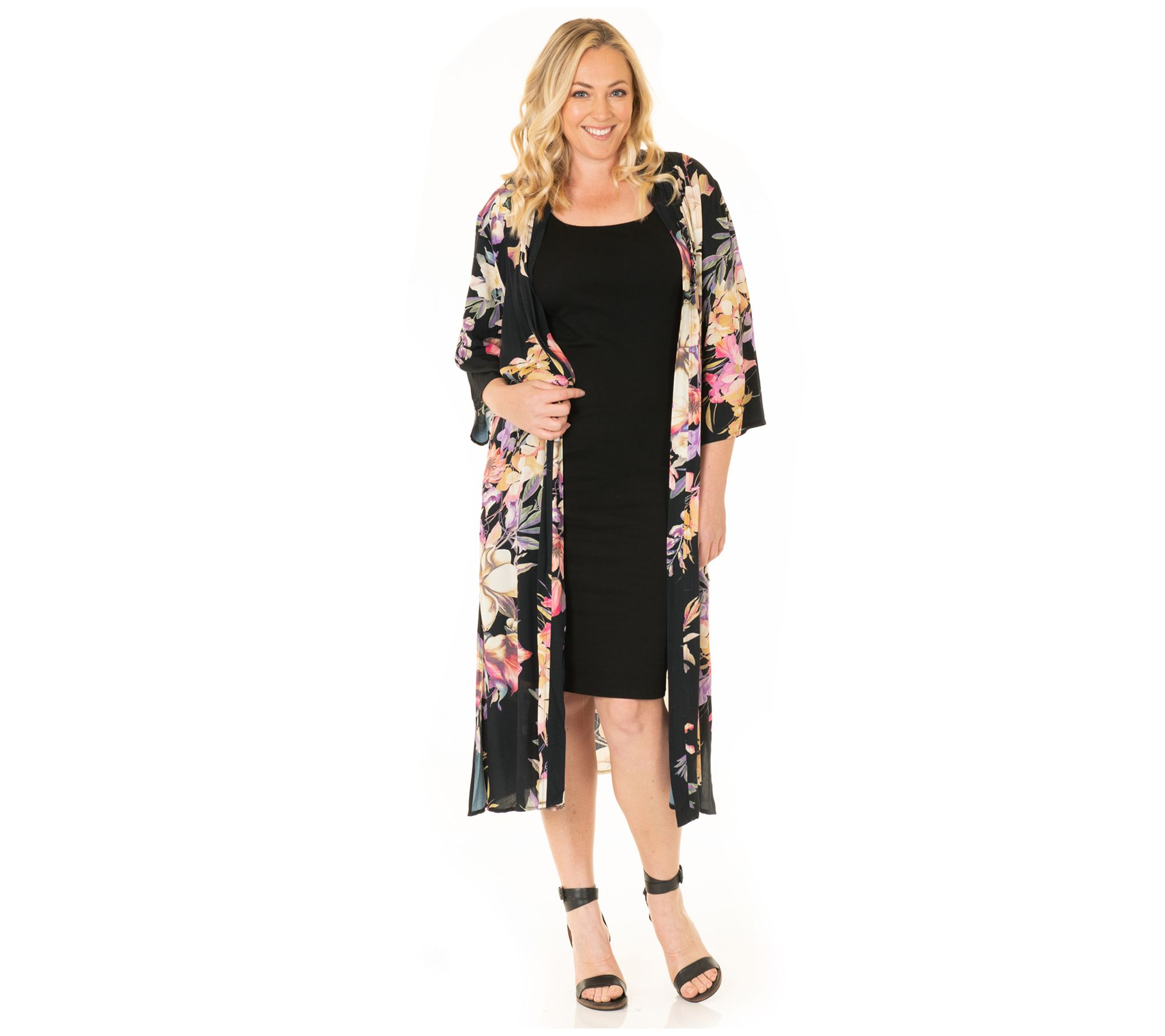 Blooming Women Bodycon Dress and Duster Set — QVC.com