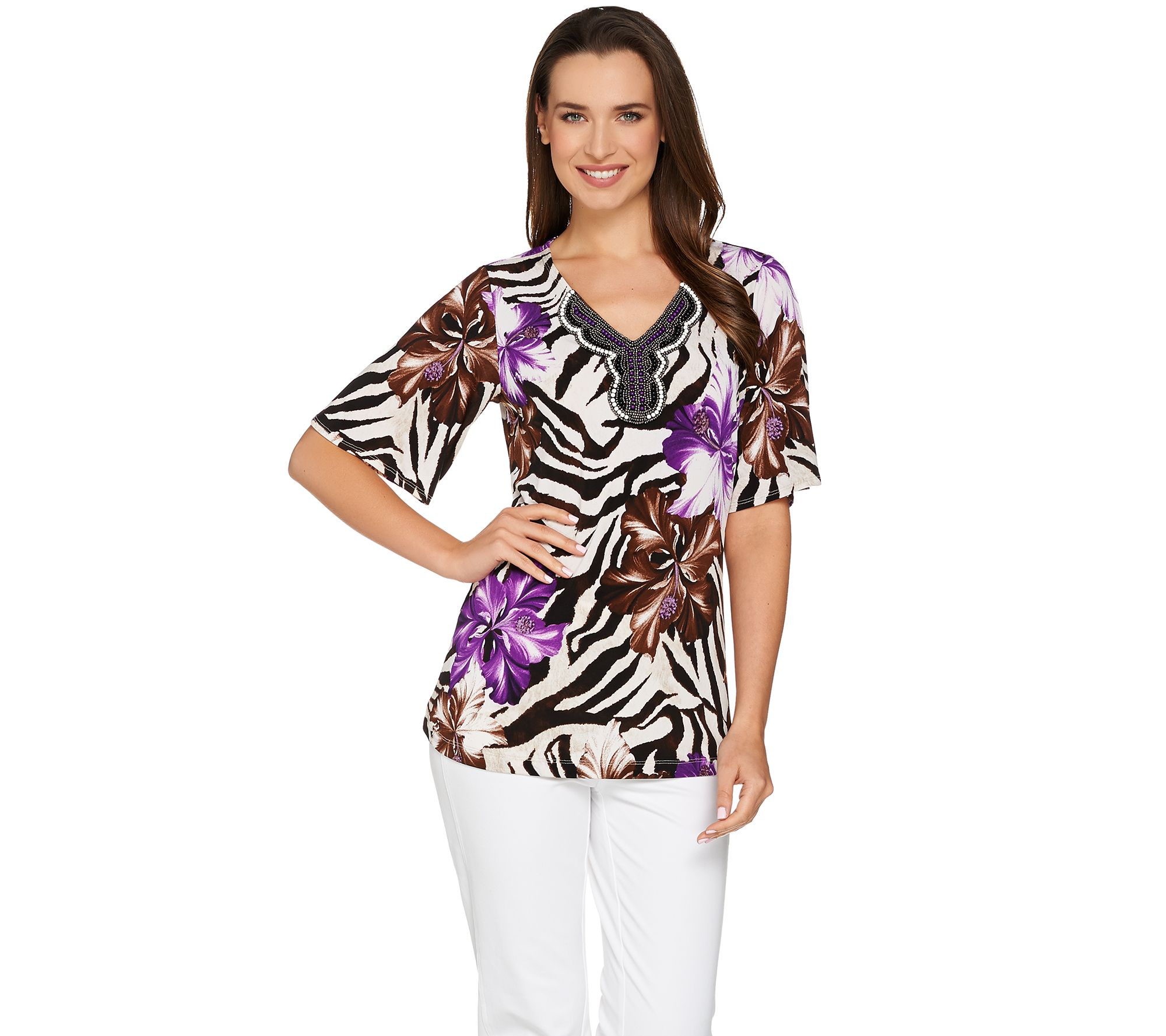 Susan Graver Printed Liquid Knit Short Sleeve Peasant Top Page 1