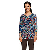 Attitudes by Renee 3/4 Sleeve Printed V-Neck Tunic - A235209