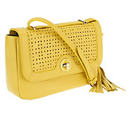 Isaac Mizrahi Live! Bridgehampton Perforated Leather Bag - A253909