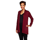 Susan Graver Cascade Front Long Sleeve Cardigan Sweater - A256709