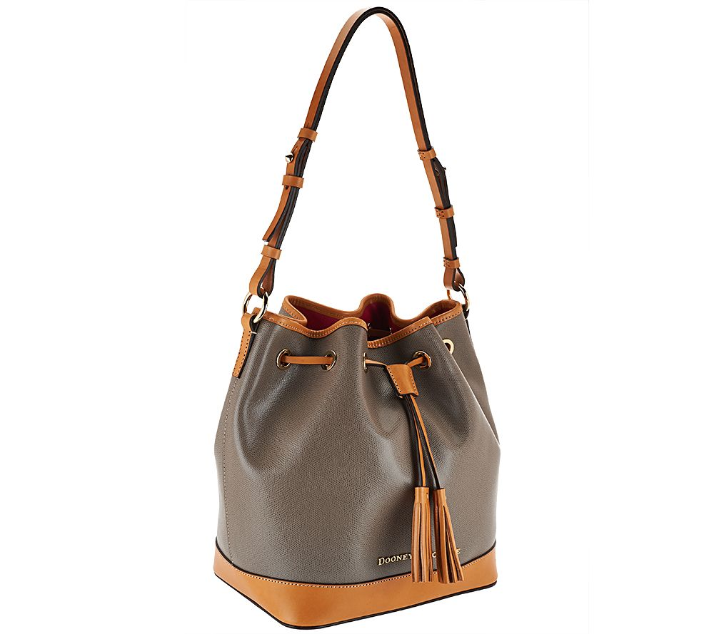 Dooney Bourke Embossed Pebble Leather Drawstring Bag Page 1 Qvc