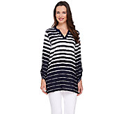 Susan Graver Striped Woven V-Neck Tunic - A263809