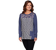 LOGO by Lori Goldstein Brushed Terry Mixed Media Knit Top - A268909