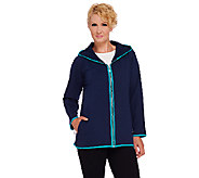 Denim & Co. Active French Terry Zip Front Jacket with Hood - A270109