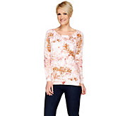 H by Halston Long Sleeve Printed Pullover Sweater - A275409