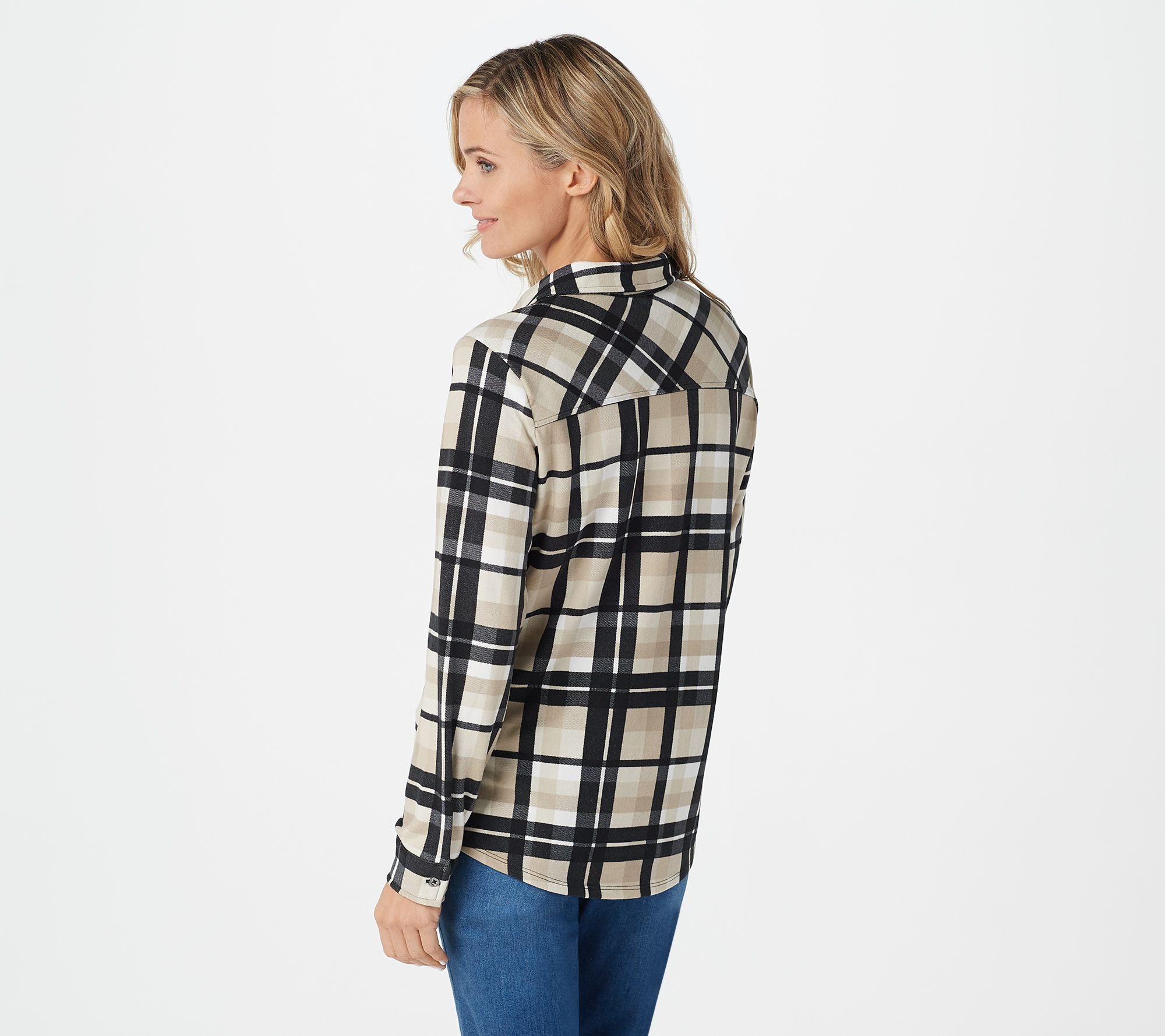 Denim   Co. Brushed Heavenly Jersey Plaid Button Front Shirt - Page ... 76325991b