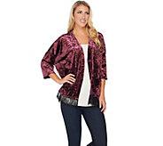LOGO by Lori Goldstein Panne Velvet Kimono with Lace Hem - A283009