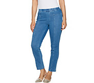 Isaac Mizrahi Live! Petite Knit Denim Pull-On Ankle Jeans - A289609