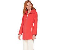 Dennis Basso Water Resistant Zip Front Jacket with Hidden Hood - A289809