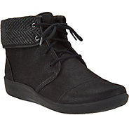 As Is Clarks Cloud Steppers Lace-up Ankle Boots - Sillian Frey - A292409