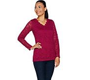 Susan Graver Stretch Lace V-Neck Long Sleeve Top - A293609