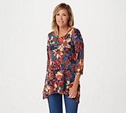Denim & Co. Brushed Heavenly Jersey Trapeze Floral Tunic - A294009