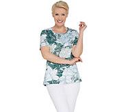 Quacker Factory Short-Sleeve Floral Printed Knit T-Shirt - A305809