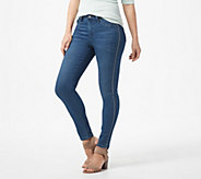 Laurie Felt Silky Denim Tuxedo-Stitch Skinny Pull-On Jeans - A310009