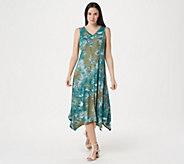 LOGO by Lori Goldstein Handkerchief Hem Knit Maxi Dress - A347709