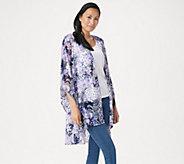 Susan Graver Printed Stretch Lace Drape Front Cardigan - A351009