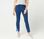 H by Halston Petite Knit Denim Ankle Pants with Zipper Detail - A351209